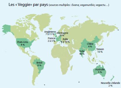 carte des vegan dans le monde