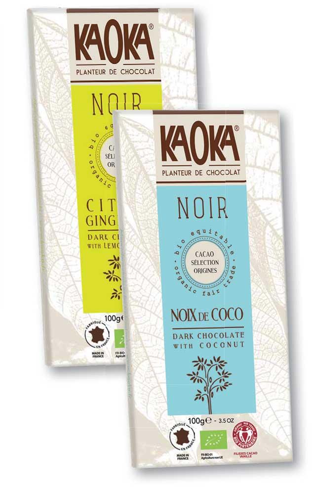 Tablette chocolat noir gingembre et noix de coco de KAOKA..